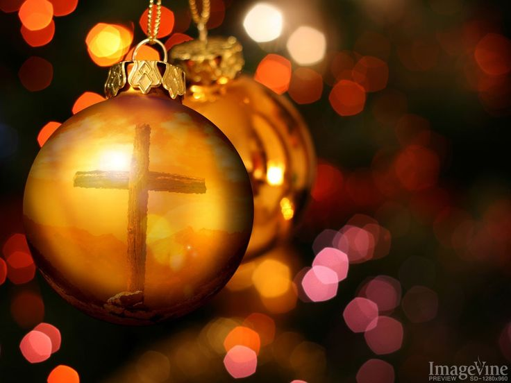 christmas background cross reflected in ornament
