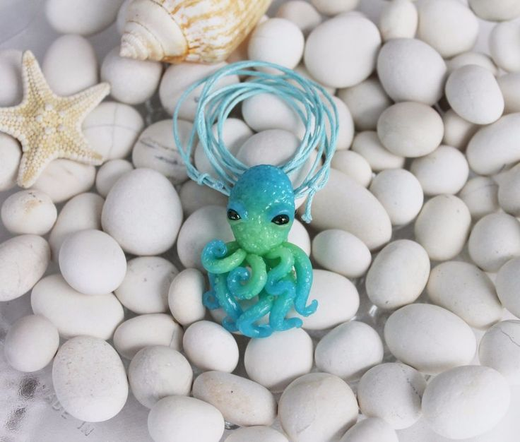 Blue green octopus / pendant necklace jewelry / handmade polymer clay #Handmade #DropDangle