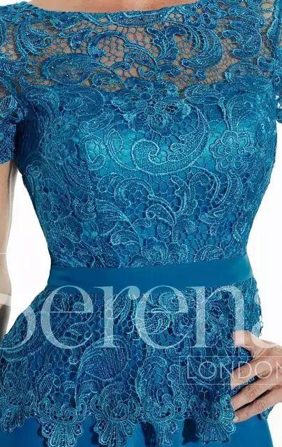a587d959a Azul elegante de Encaje de Manga Corta Más El Tamaño de la Madre De La Novia