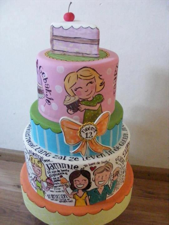 "Prachtige blond Amsterdam taart, helemaal geschilderd #deleukstetaartenforum (beautiful painted ""Blond Amsterdam"" cake)"