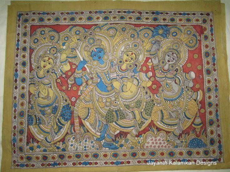 Pen Kalamkari Wall Hangings Code: JKD-WH04 Length: 47 inch Width: 36 inch  Story: Radha Krishna