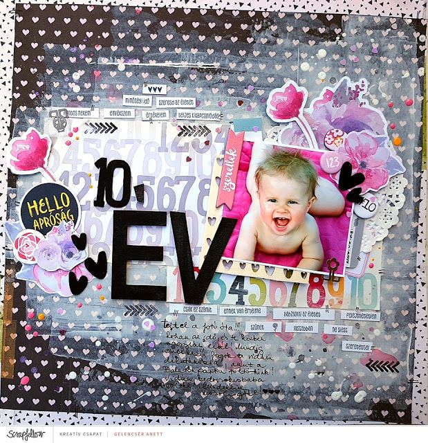 10 év scrapbook layout + process video