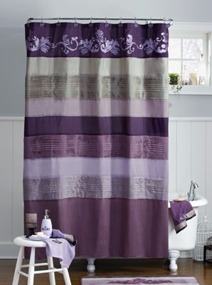 Purple and gold chevron shower curtain curtain for Purple and gold bathroom ideas