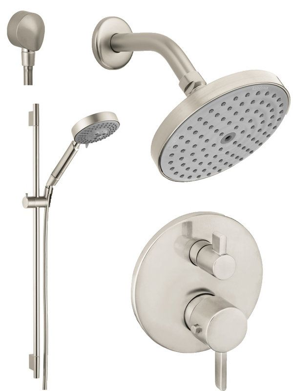 """Hansgrohe HG-T201BN Brushed Nickel S Thermostatic Shower System with Volume Control & Diverter Trim, 24"""" Wall Bar, Shower Arm, Shower Head and Multi Function Hand Shower, Less Valve"""