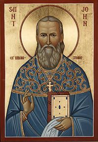 """""""So do not let us stand in church in a state of spiritual prostration, but let the spirit of each one of us on such occasions burn in its working towards God."""" St, John of Kronstadt"""