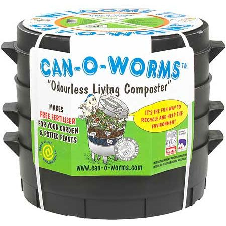 The Can O Worms provides a quick, odorless and space efficient way to convert kitchen scraps into rich, crumbly vermicompost. Contains 3 large capacity working trays -- no need to purchase additional trays!