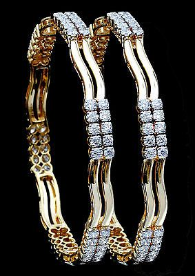 Fine Daily / Party Wear Bangles in 18K Yellow Gold With Natural White Diamonds