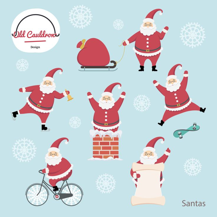 Santa Claus's characters clipart commercial use, christmas cliparts,  vector graphics, digital clip art, digital images CL002 by OldCauldronDesign on Etsy