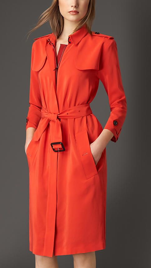 Burberry Orange Red Silk Trench Coat Dress - A super-lightweight trench coat-style dress crafted from silk. Featuring bracelet-length sleeves, the softly-structured silhouette is enhanced with a feminine belted waist. Discover the women's dress collection at Burberry.com
