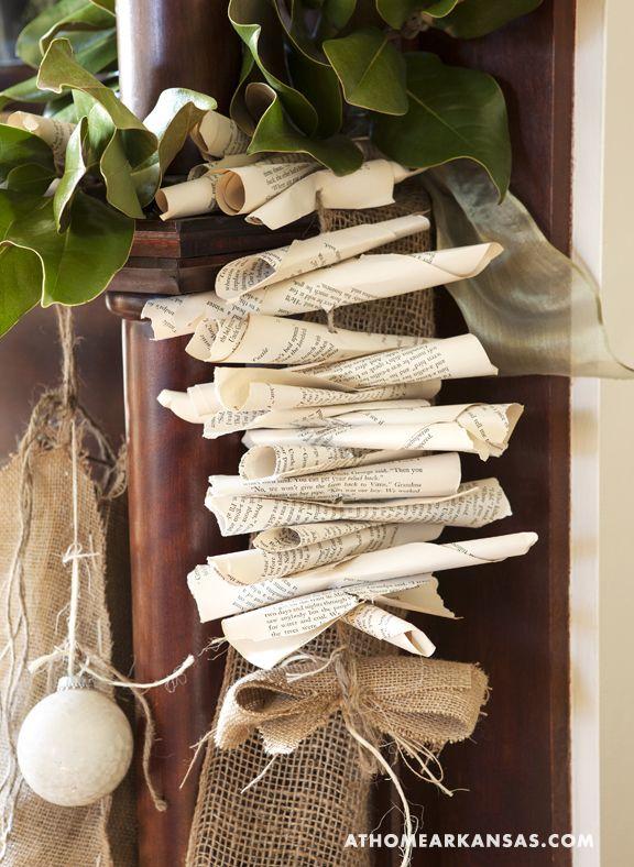 Magnolia, book page & burlap garland