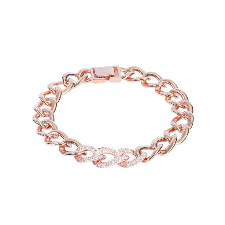 Ein Traum in Roségold. Hochwertiges Armband mit funkelnden Zirkonia Steinen in der Kollektion von Stella-Bijou