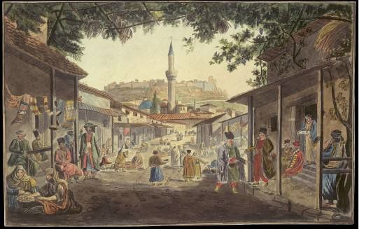 Edward Dodwell (1767-1832): Early 19th c. watercolour depicting the Bazaar at Athens, on the street that still exists in front of Hadrian's Library.