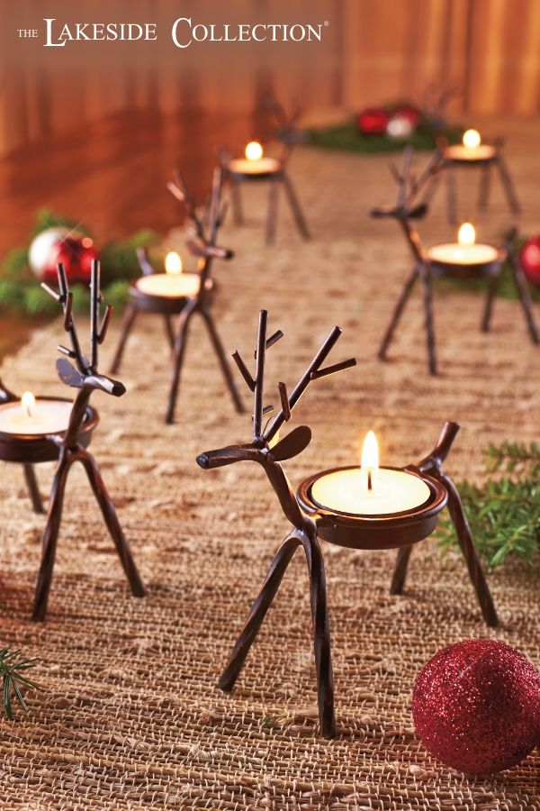 Set Of 6 Reindeer Tea Light Holders With Images Christmas Tabletop Christmas Table Centerpieces Christmas Candle Holders