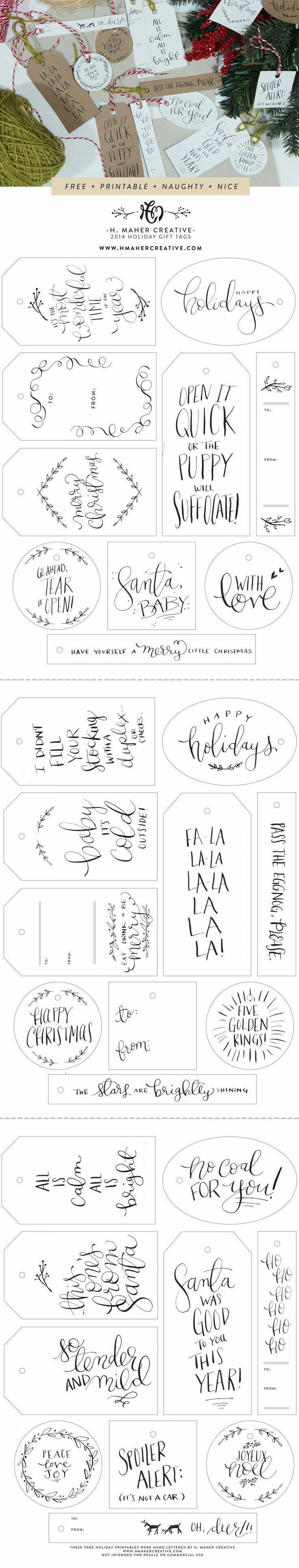 Best 25 homemade gift tags ideas on pinterest diy christmas naughty nice 30 free hand lettered holiday gift tag printables from h maher creative the puppy one is my favorite solutioingenieria Choice Image