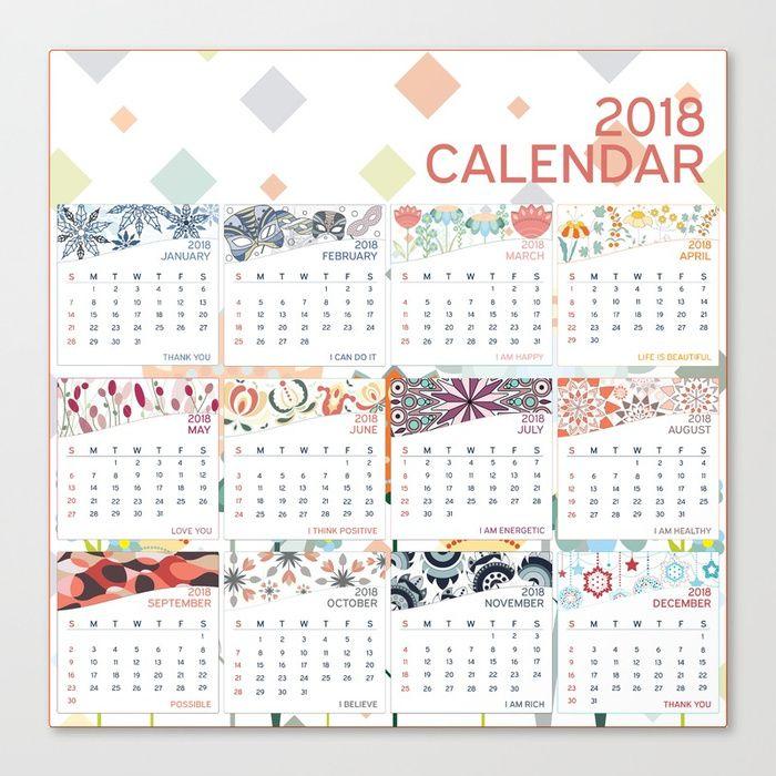 2018 Calendar Canvas Print