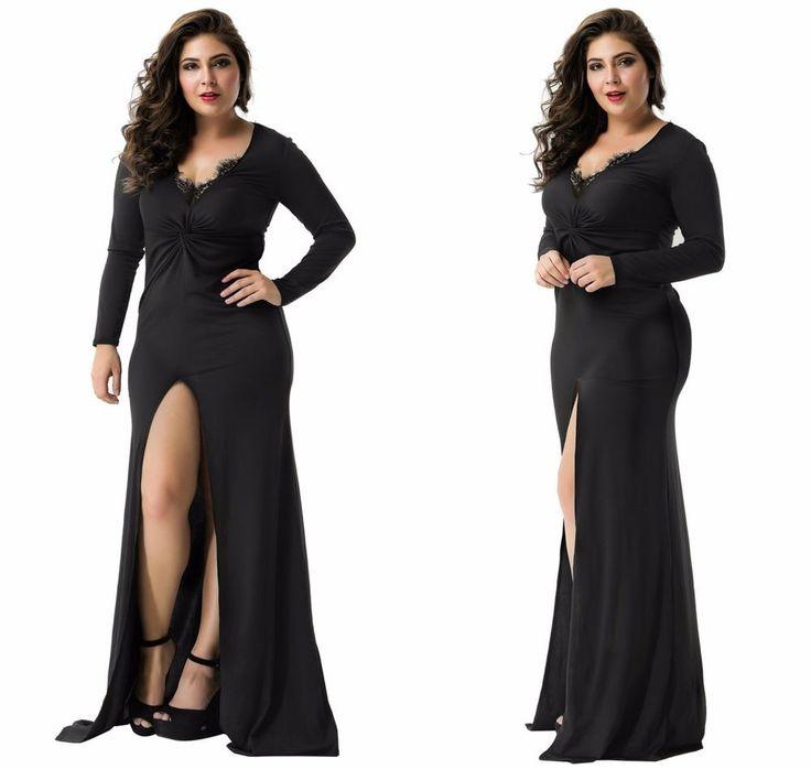 Elegant Women's Black Maxi Long Sleeve Formal Evening Wedding Party Dress Sz8-18  | eBay