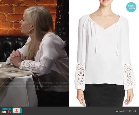 Ashley's white peasant blouse with lace sleeves on The Young and the Restless.  Outfit Details: https://wornontv.net/69734/ #TheYoungandtheRestless