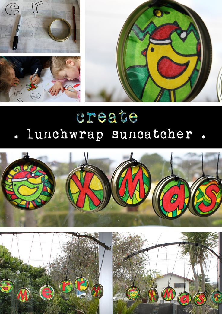 Xmas lunchwrap and permanent marker suncatcher