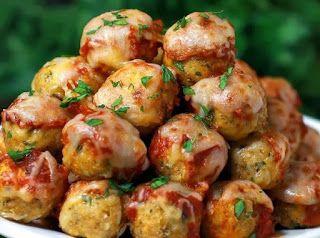 Greek Recipes - Ελλήνων Γεύσεις: Ψητά κεφτεδάκια από κοτόπουλο με σάλτσα και παρμεζάνα