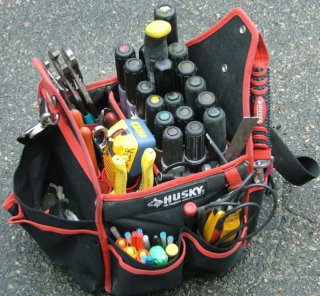 "Modified Tool Bags - scrap 1"" conduit screwdriver holder"