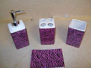 pink zebra print bathroom accessories | 4pcs-Bath-Accessory-Set-sexy-pink-zebra-print-bathroom-accessories ...