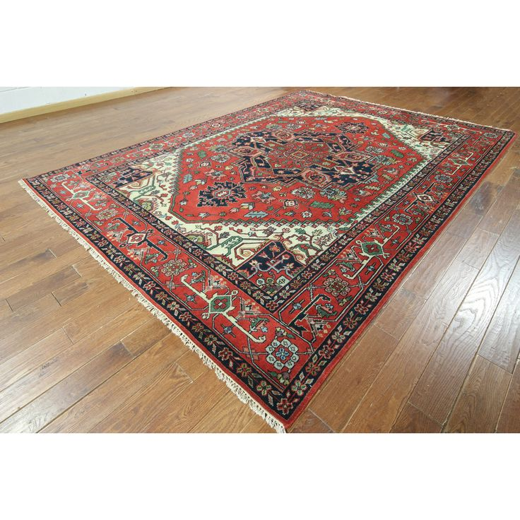 W827 Red Wool Serapi Oriental Hand-knotted Heriz Rug (9' x 12') | Shades Of Red, Backdrops and Wool