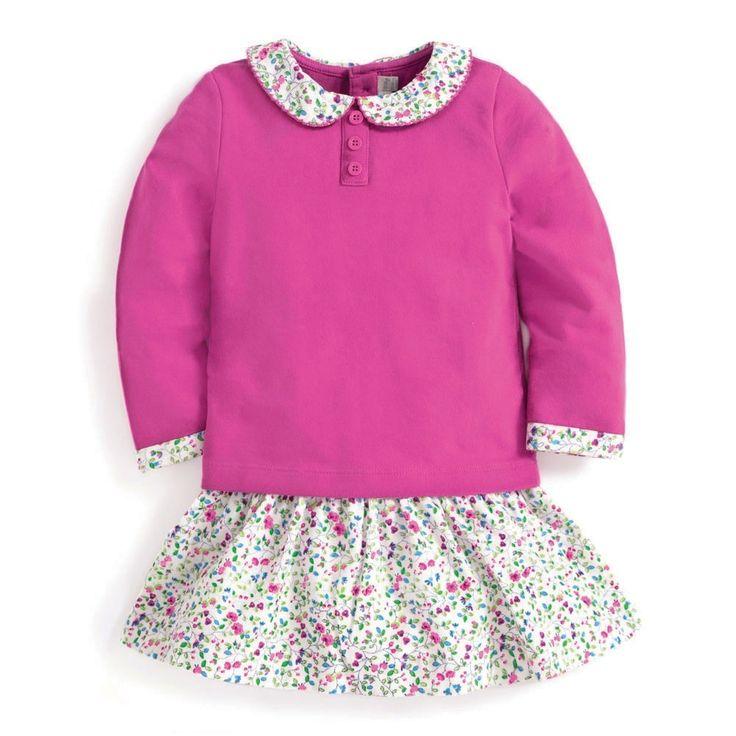 Girls' Raspberry Frill Collar Dress | JoJo Maman Bébé