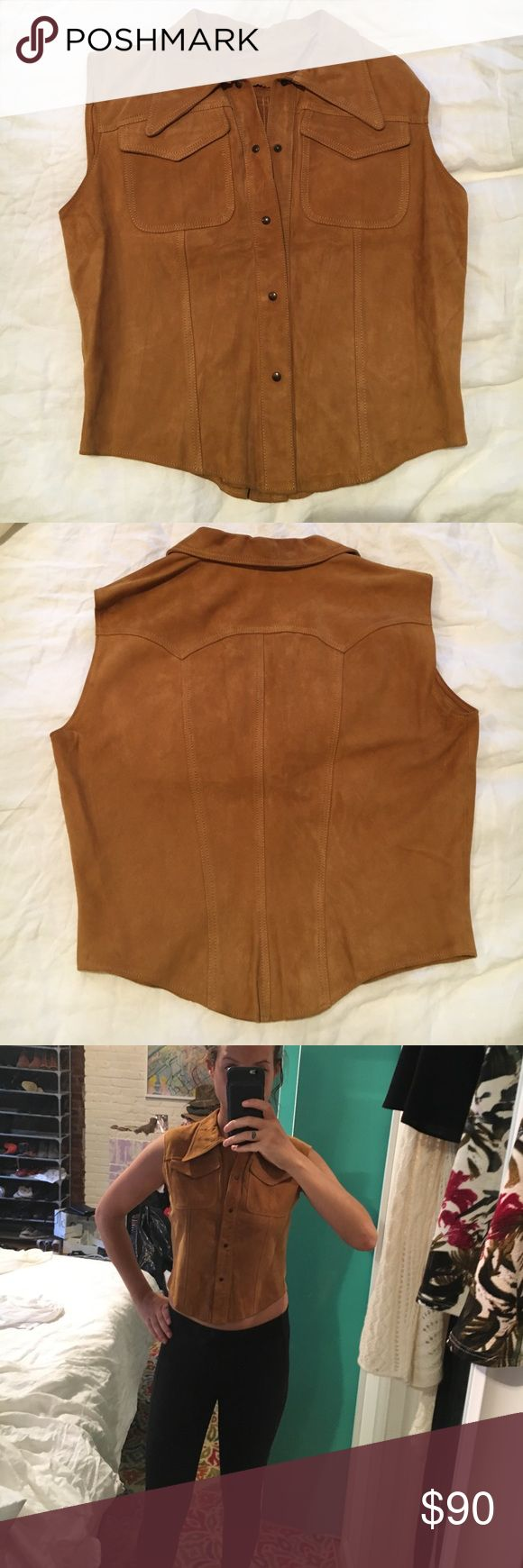 Vintage camel color suede vest 100% suede, camel color, buttons up, sleeveless with 2 pockets on busts, snaps all the way up, collar, can be worn with or without shirt underneath, slightly cropped. Brand new condition Vintage Jackets & Coats Vests