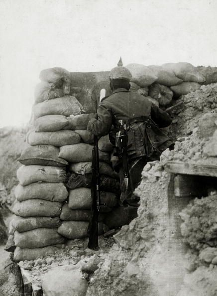 World War One. German soldier at an observation post during the Battle of the Somme, 1916.