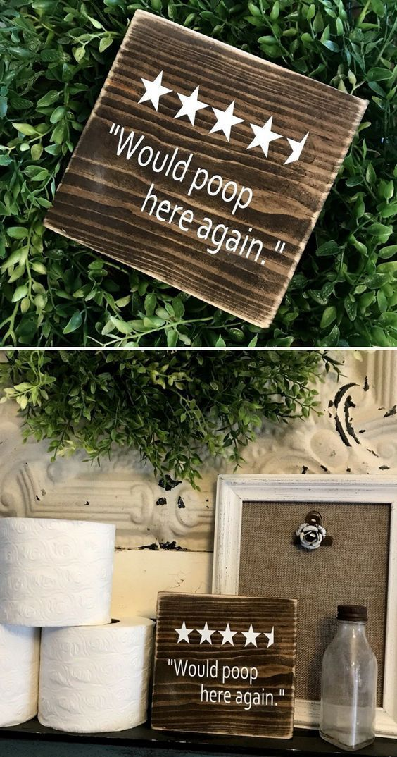 Hahaha 4.5 stars for the bathroom! Would poop here again, wood sign, funny bathroom decor, funny housewarming gift idea, farmhouse decor, rustic decor…