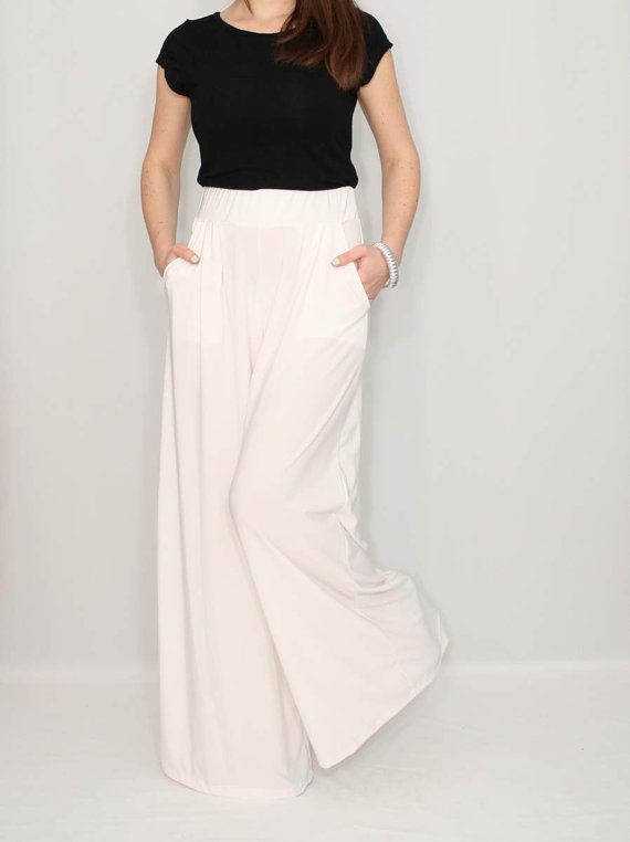Ivory Pants High Waist Wide Leg Pants Womens By Ksclothing