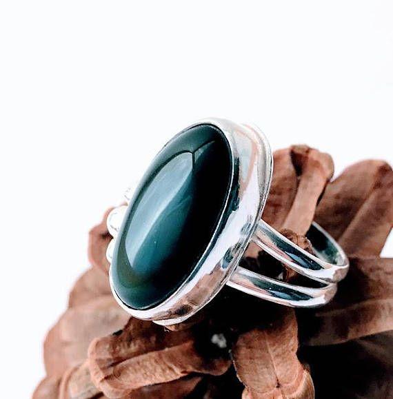 Rainbow Obsidian Ring  Obsidian Ring  Black Obsidian Ring