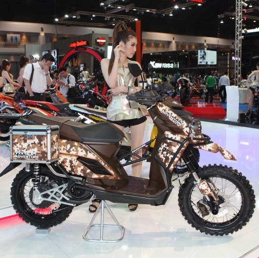 The Yamaha TTX Adventure scooter with extra luggage, a vastly strengthened frame, and overall much higher quality for off-road rugged driving. Shown in Yamaha Thailand, Bangkok.