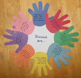 Beatitudes...... Maybe do strips of paper instead of hand prints.  Easier to cut for younger children and not so time consuming