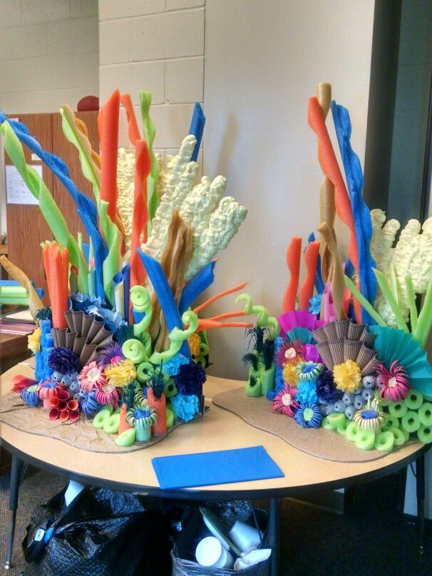 Coral displays for Deep Sea Discovery VBS 2016 at TLC (pool noodle and spray foam coral, craft paper sea urchins, corrugated cardboard shells)