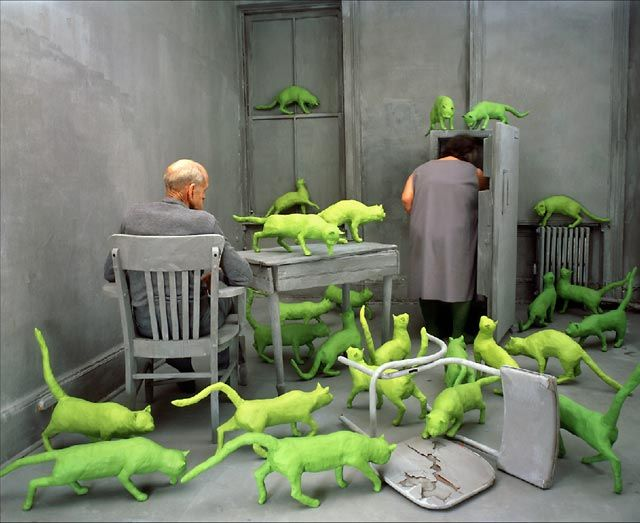 sandy skoglund's radioactive cats: Concept Art, Art Museums, Paintings Colors, Neon Green, Writing Prompts, Sandy Skoglund, Radioact Cat, Art Installations, Cat Lady