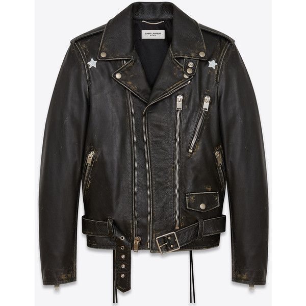 Saint Laurent Signature Stars Motorcycle Jacket (3,410 CAD) ❤ liked on Polyvore featuring men's fashion, men's clothing, men's outerwear, men's jackets, men, mens rider jacket, mens biker jacket, mens leather moto jacket and mens leather biker jacket