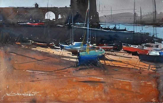 Port in St Malo, Bretagne , France  by Eugen Chisnicean Watercolor ~ 40cm x 60cm