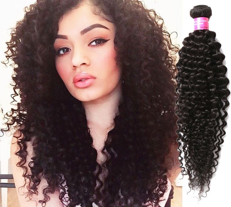 """US Ship Hot Sale New 150g 3Bundles 16""""  Black Jerry Curly Human Hair Extensions #WIGISS #HairExtension"""