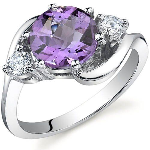 3 Stone Design 1.75 carats Amethyst Ring in Sterling Silver Rhodium Finish Size 5 to 9 Peora. $34.99
