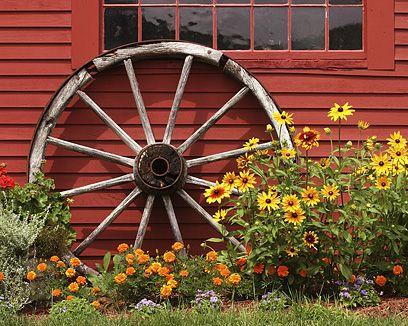 Pretty setting for a wagon wheel.