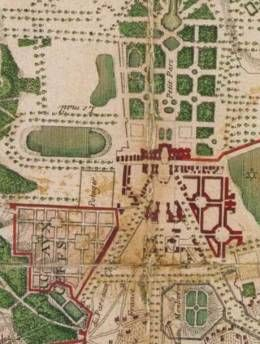 """""""Le parc aux cerfs"""" - Stag park (marked red on the plan of Versailles), there used to be a mansion that Louis XV used as a """"dating"""" den with innocent young ladies (15-17 years old). The place was initiated by Madame Pompadour, that took control over Louis XV """"physical love"""" life. The term of """"le parc aux cerfs"""" became a symbol of vulgar morals #Versailles #Frenchhistory #Louisxv"""