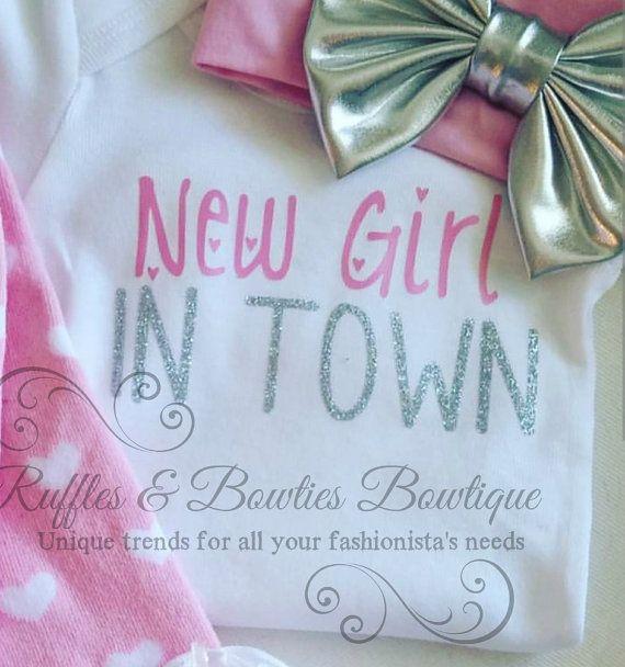 New Girl In Town Pink & Silver Glitter Onesie by RufflesBowtique