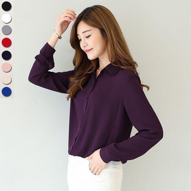 2016 new spring hot solide couleur revers chemises à manches longues plus  la Taille chemise en mousseline de soie blouse chemise de femmes  occasionnel lâche ...