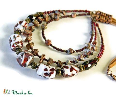 Szafari - lámpagyöngyös nyaklánc leopárd jáspissal és valódi bőrrel (marianne) - Meska.hu