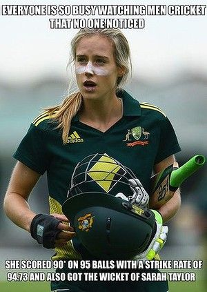 "Cricket Australia calls Ellyse Perry ""arguably the best female athlete in Australia"" and not without merit. She has played for Australia at international level in both soccer and cricket and recently batted the Aussies to victory in the One Day International against England in Hobart with 90 not out from 95 balls.  Some would say that deserves serious respect. Not the cricket fans on the Facebook page 'Cricket memes', apparently, who responded to the news with a plethora of comments..."