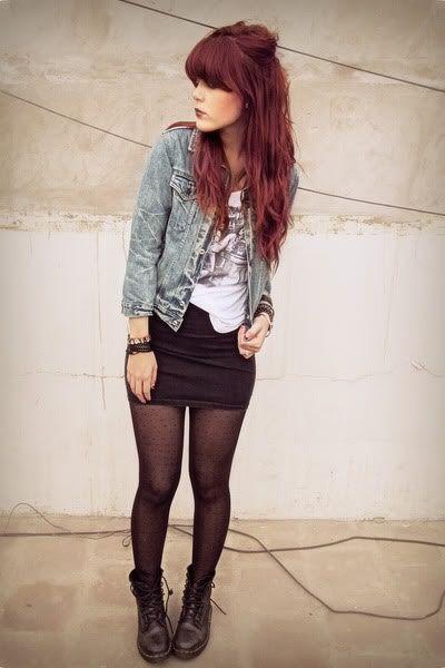 Denim Jacket/Top, Graphic Tee, Black Skirt, Tights, Boots
