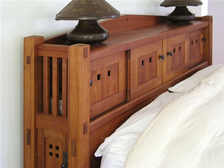 Custom Made Arts Crafts Style Bookcase Headboard Bed Design By