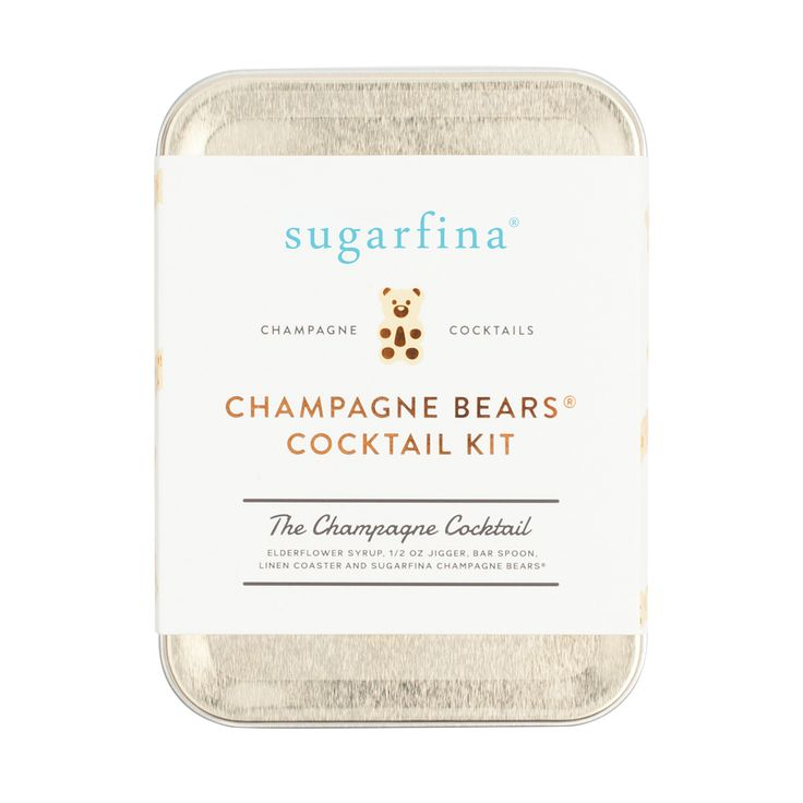 This cute kit includes all the tools you need to mix two champagne cocktails on the go, including small-batch elderflower cocktail syrup, bar spoon, linen coaster, and a Champagne Bears® candy chaser.   Alcohol is not included. Intended for those 21 years and older.