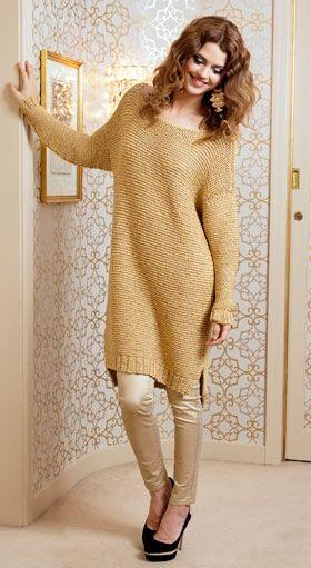 Helt enkel, strikket sweaterkjole du vil elske hele året – superflot sammen med stramme jeans eller leggins